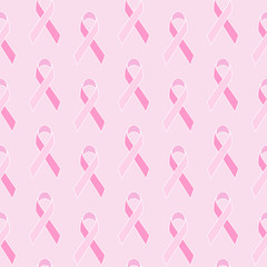 Seamless pattern with Breast cancer awareness pink geometric ribbon. Vector illustration.