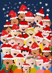 Coro di bambini di Natale con sfondo scuro
