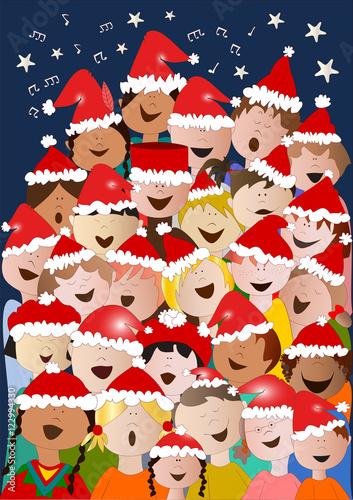 Foto Di Natale Con Bambini.Coro Di Bambini Di Natale Con Sfondo Scuro Stock Image And