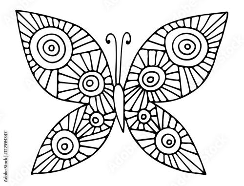 Abstract Butterfly Coloring Pages : Quot black line abstract butterfly for greeting card coloring