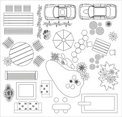 Set of top view interior. Different variants of furniture for garden and garage