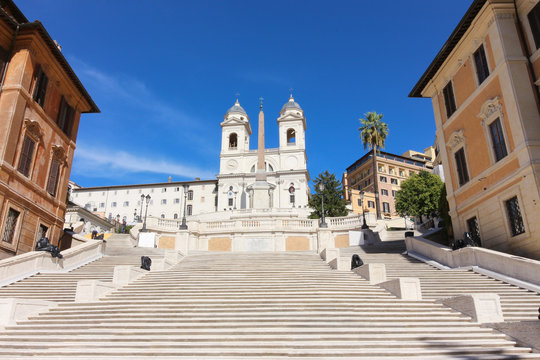 Spanish Steps in Square of Spain, Rome, Italy at morning with blue sky in the unusual situation without people