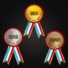 Gold Silver and Bronze Medals with Ribbons