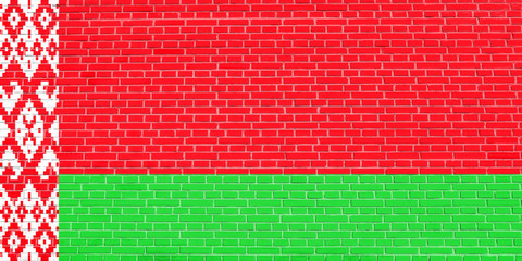 Flag of Belarus on brick wall texture background