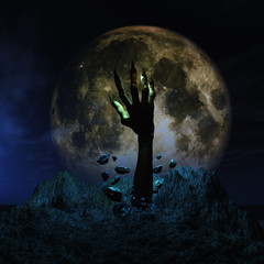 Fototapete - 3D Halloween background with zombie hand