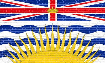 Flag of British Columbia on brick wall texture
