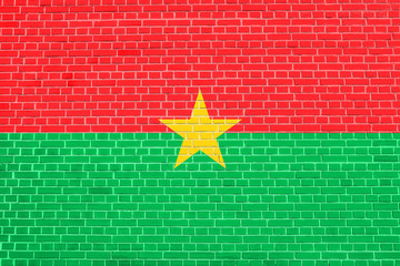 Flag of Burkina Faso brick wall texture background