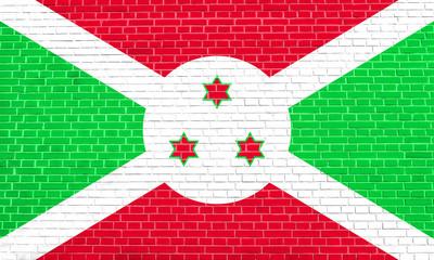 Flag of Burundi on brick wall texture background