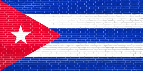 Flag of Cuba on brick wall texture background