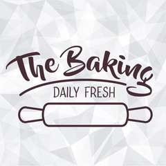 Rolling pin icon. Bakery food daily and fresh theme. Polygonal background. Vector illustration