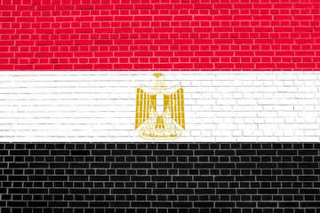 Flag of Egypt on brick wall texture background