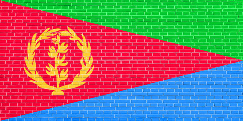 Flag of Eritrea on brick wall texture background