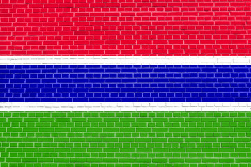 Flag of the Gambia, brick wall texture background