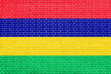 Flag of Mauritius on brick wall texture background