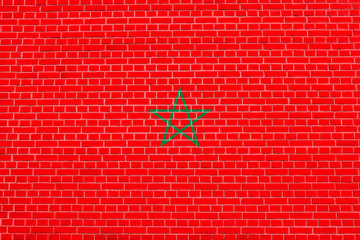Flag of Morocco on brick wall texture background
