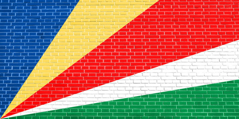 Flag of Seychelles, brick wall texture background