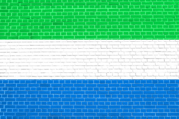 Flag of Sierra Leone brick wall texture background