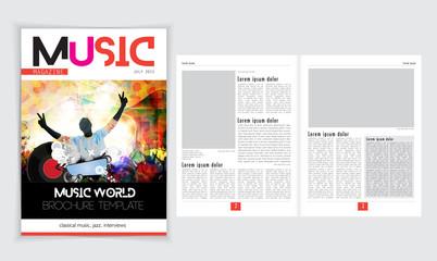 Music newspaper template, vector