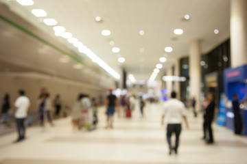 Abstract people walking at International Airport blurred backgro