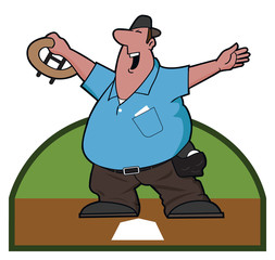 Ump / An umpire displays the safe sign at home plate.