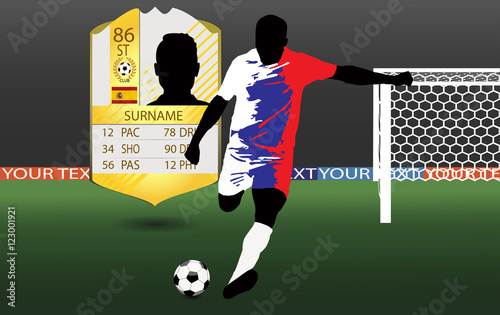 b71855d5e9c eps 10 vector football player in uniform of Russia national state flag.  Soccer player run hit ball. Football game in action.