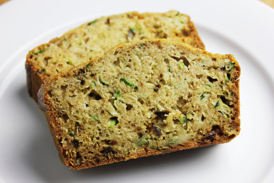 Freshly Baked Zucchini Bread with Raisins and Walnuts