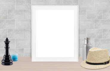 blank photo frame gray background