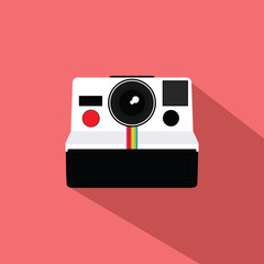 Polaroid Vintage Camera Flat Design Vector Illustration