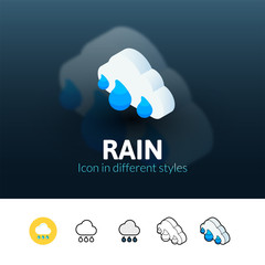 Rain icon in different style