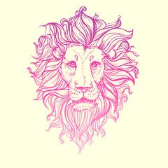 Hand drawn vector illustration of doodle pink lion. sketch. Vector eps 10