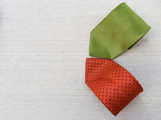 Green and red necktie design with space on canvas background, father's day concept, necktie fashion