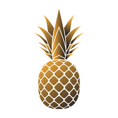 Pineapple gold icon. Tropical fruit, isolated on white background. Symbol of food, sweet, exotic and summer, vitamin, healthy. Nature logo. 3D concept. Design element Vector illustration