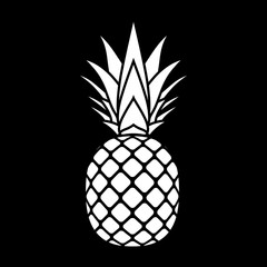 Pineapple with leaf silhouette icon. Tropical fruit isolated on black background. Symbol of food, exotic and summer, vitamin, healthy. Nature logo. Flat concept. Design element Vector illustration