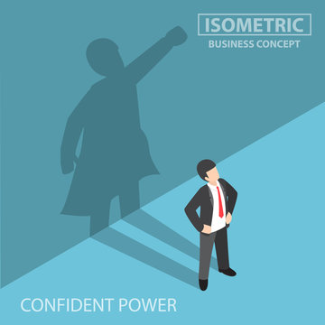 Isometric businessman with his superhero shadow