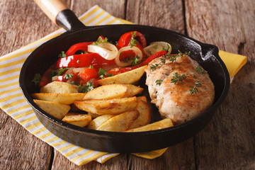 Roasted chicken breast with potatoes and a salad of peppers closeup on a pan. horizontal