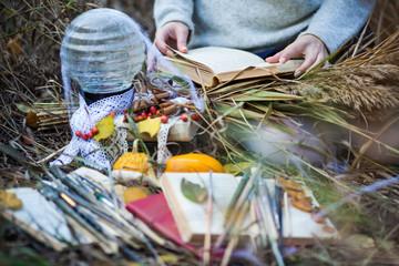 Чтение книги на природе осенью