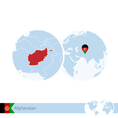 Afghanistan on world globe with flag and regional map of Afghanistan.