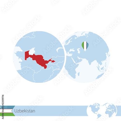 Uzbekistan on world globe with flag and regional map of uzbekistan uzbekistan on world globe with flag and regional map of uzbekistan gumiabroncs Images