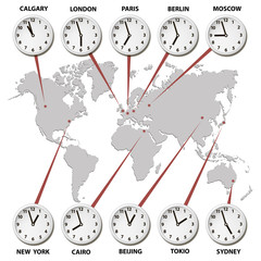 World map with time zones world capitals