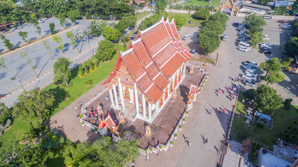 aerial view pagoda of Chalong temple Phuket Thailand this temple know well for tourist The Grand Pagoda dominating the temple contains a splinter of Lord Buddha's bone and is officially