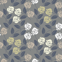 Beautiful seamless pattern with cute roses and leaves