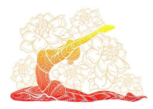silhouette of yoga woman floral ornament.