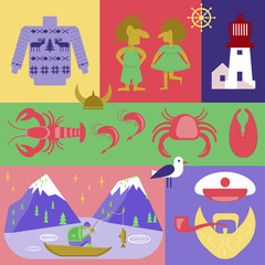 Flyer Explore the world. Welcome to norway icon set. Vector Scandinavian traditional symbols collection.