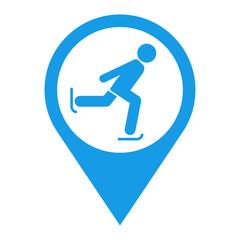 Icono plano localizacion patinaje sobre hielo azul