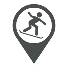 Icono plano localizacion snowboarding gris