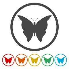 Set of butterflies silhouette icon