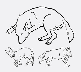 Dog activity pet animal line art. good use for symbol, logo, web icon, mascot, decoration element, object, or any design you want.