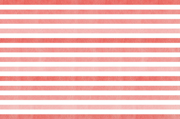 Watercolor coral pink striped background. Pink gradient pattern.