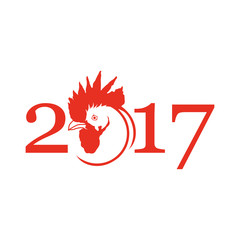 Silhouette of red cock.Red Rooster for New Year's design