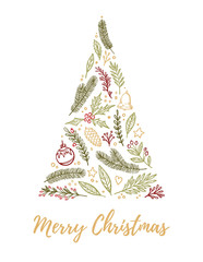 Hand drawn vector illustration - Christmas tree with holiday elements